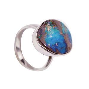 RADIATING BRILLIANCE STERLING SILVER GOLD PLATED AUSTRALIAN BOULDER OPAL RING