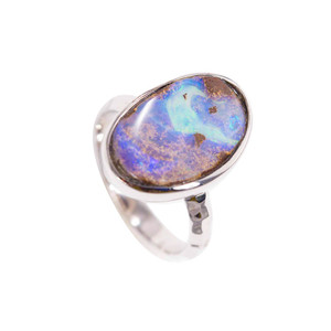 BLUE & GREEN HARMONY STERLING SILVER SOLID BOLDER OPAL RING
