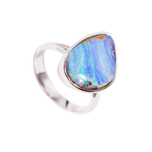 PARADISE OCEAN STERLING SILVER SOLID BOULDER OPALRING