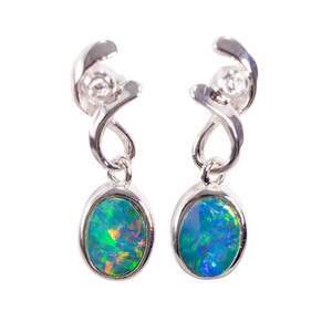 CARRIBEAN ESCAPE STERLING SILVER AUSTRALIAN OPAL DROP EARRINGS
