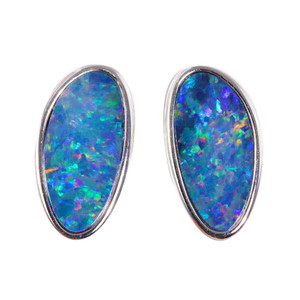 CANDY CANE BLAST STERLING SILVER AUSTRALIAN OPAL STUD EARRINGS