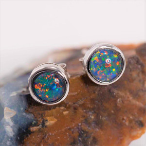 DIVINE SPIRIT STERLING SILVER AUSTRALIAN OPAL STUD EARRINGS