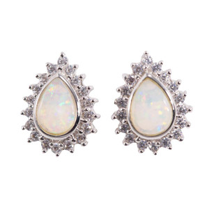 ELECTRIC LOVE SHINE SUNRISE STERLING SILVER NATURAL AUSTRALIAN WHITE OPAL STUD EARRINGS