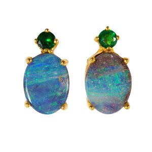 AQUA MARINE PRINCESS 14KT GOLD AUSTRALIAN SOLID OPAL & GREEN GARNET EARRINGS