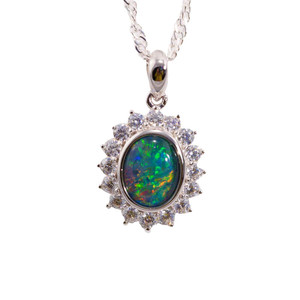 DEEP SUNRISE FLASH STERLING SILVER AUSTRALIAN BLACK OPAL NECKLACE