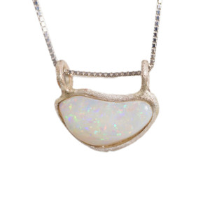 CRYSTAL CASTLE AUSTRALIAN WHITE OPALIZED SHELL NECKLACE