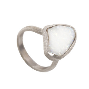 POWDER PUFF AUSTRALIAN WHITE OPALIZED SHELL RING