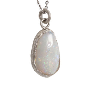 HERCULEAN MAJESTY AUSTRALIAN WHITE OPALIZED SHELL NECKLACE