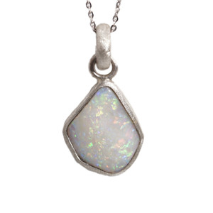 ELECTRIC WONDERLAND AUSTRALIAN WHITE OPALIZED SHELL NECKLACE