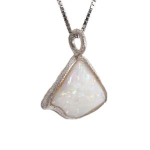 RAINBOW SPLASH DROP AUSTRALIAN WHITE OPALIZED SHELL NECKLACE