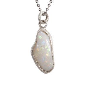 HOLOGRAM ADVENTURE AUSTRALIAN WHITE OPALIZED SHELL NECKLACE
