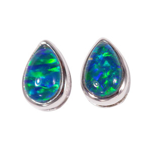 BRIGHT LIGHT BLUE GREEN STERING SILVER AUSTRALIAN BLACK OPAL STUD EARRINGS