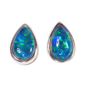 GREEN BLUE BLAST STERLING SILVER AUSTRALIAN BLACK OPAL STUD EARRINGS