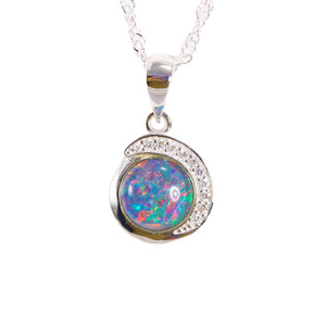 1 ELECTRIC DYNASTY STERLING SILVER AUSTRALIAN BLACK OPAL NECKLACE