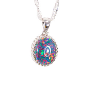 ELECTRIC FLASH STERLING SILVER AUSTRALIAN BLACK OPAL NECKLACE