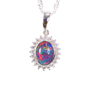 1 GREAT MAGESTY STERLING SILVER AUSTRALIAN BLACK OPAL NECKLACE