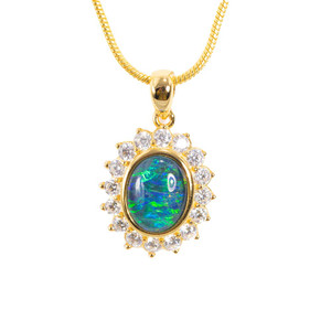 MIRROR BALL FLASH 18KT GOLD PLATED AUSTRALIAN BLACK OPAL NECKLACE
