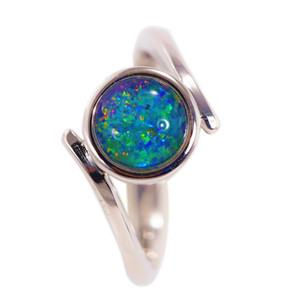 MAGNETIC ECLIPSE STERLING SILVER AUSTRALIAN BLACK OPAL RING