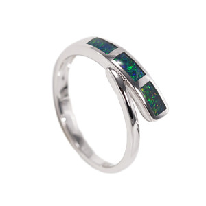 BRIGHTEST GARDEN STERLING SILVER AUSTRALIAN BLACK OPAL RING