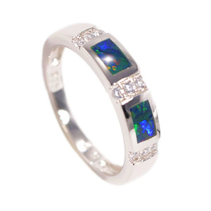MAGESTIC SKY STERLING SILVER AUSTRALIAN BLACK OPAL RING