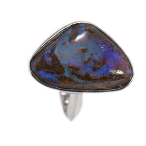 PURPLE MOUNTAIN HARMONY STERLING SILVER BOULDER OPAL RING