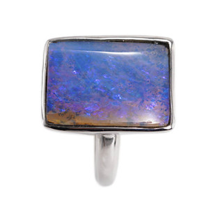 PURPLE POOL STERLING SILVER SOLID BOULDER OPAL RING