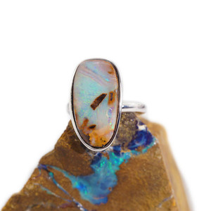POETIC PARADISE STERLING SILVER SOLID BOULDER OPAL RING