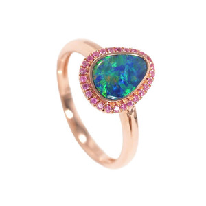ENCHANTED ELECTRIC FOREST 14KT ROSE GOLD AUSTRALIAN OPAL & PINK SAPPHIRE RING