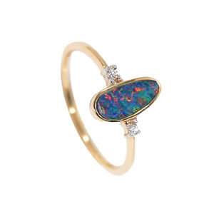 BRILLIANT RAINBOW DIAMOND 14KT  GOLD AUSTRALIAN OPAL & DIAMOND RING