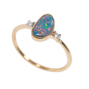DIVINE PASSION 14KT GOLD AUSTRALIAN OPAL & DIAMOND RING