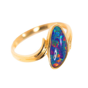 1 TIGER'S EYE 14KT GOLD AUSTRALIAN OPAL  RING