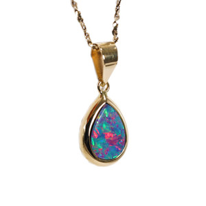 NEON PINK PASSION 14KT GOLD AUSTRALIAN  BLACK OPAL NECKLACE