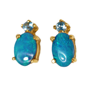 ROYAL MAJESTY 14KT GOLD AUSTRALIAN SOLID OPAL & AQUA MARINE EARRINGS