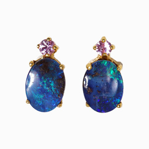 ELECTRIC CASTLE 14KT GOLD AUSTRALIAN SOLID OPAL & PINK SAPPHIRE EARRINGS