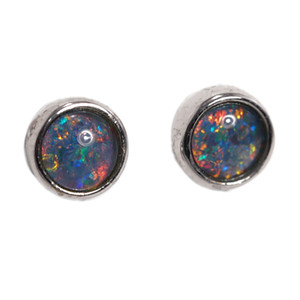 BRIGHT BLAST STERLING SILVER AUSTRALIAN BLACK OPAL STUD EARRINGS