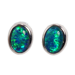 BLUE ORBIT STERLING SILVER AUSTRALIAN OPAL EARRINGS