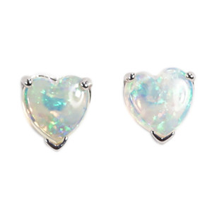 LOVE GENEROUSLY 14KT WHITE GOLD NATURAL AUSTRALIAN WHITE OPAL HEART EARRINGS