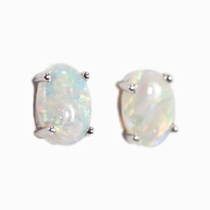 ELECTRIC POWDER 14KT GOLD NATURAL AUSTRALIAN WHITE OPAL STUD EARRINGS