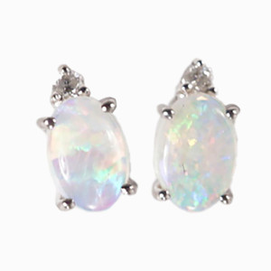 DEEP LOVE 14KT WHITE GOLD AUSTRALIAN WHITE OPAL & DIAMOND STUD EARRINGS