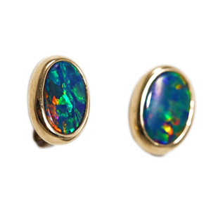 BREATHTAKING SUNRISE 14KT GOLD AUSTRALIAN BLACK OPAL STUD EARRINGS