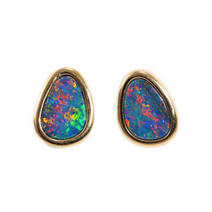BRILLIANT SUNSPLASH 14KT GOLD AUSTRALIAN BLACK OPAL STUD EARRINGS