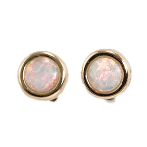 POWDER SUNRISE 14KT GOLD NATURAL AUSTRALIAN WHITE OPAL STUD EARRINGS
