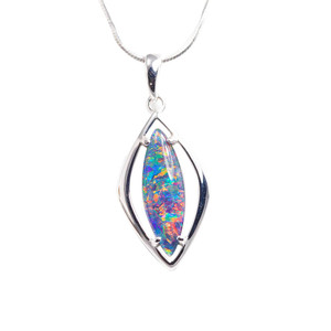 BRIGHT BEAM FLASH STERLING SILVER AUSTRALIAN BLACK OPAL NECKLACE