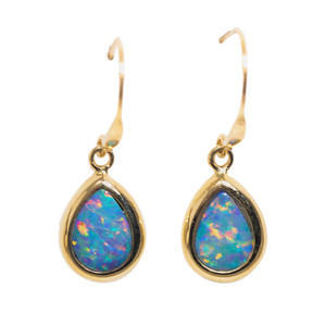 BRILLIANT WONDERLAND 14KT YELLOW GOLD AUSTRALIAN OPAL DROP EARRINGS