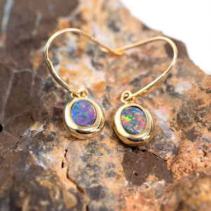 NEWPORT COAST 14KT YELLOW GOLD AUSTRALIAN OPAL DROP EARRINGS