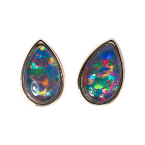 ADVENTURE ISLAND 14KT GOLD AUSTRALIAN BLACK OPAL STUD EARRINGS