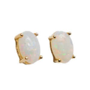 BRIGHT WHITE 14KT GOLD AUSTRALIAN WHITE OPAL STUD EARRINGS