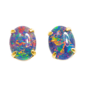 1 BRIGHTEST STAR 18KT GOLD PLATED AUSTRALIAN BLACK OPAL STUD EARRINGS