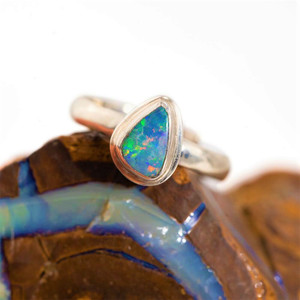 CLOUD CRYSTAL STERLING SILVER SOLID AUSTRALIAN WHITE OPAL RING
