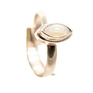 1 SPLASH POP STERLING SILVER SOLID AUSTRALIAN WHITE OPAL RING
